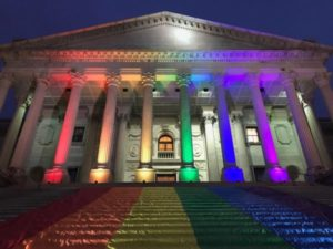 SC State House in rainbow colors